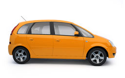 Multi-purpose orange car side view. Bright modern car illustration on white background with shadow. For more colors and views of this car please check my Royalty Free Stock Photos