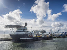 Multi purpose ship in Esbjerg harbor Stock Photos