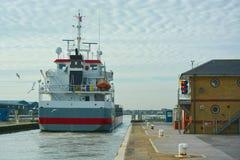 Ships going through lock Stock Image