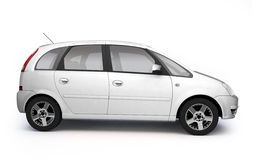 Multi-purpose white car side view. Modern car realistic 3d illustration on white background Royalty Free Stock Photo