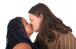 Multi race couple kissing Stock Photos