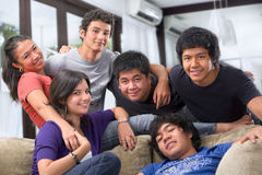 Multi race teenagers pose together Royalty Free Stock Images