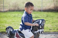 Multi-racial boy at the park. Cute multi-racial boy at the park playing on a horse Royalty Free Stock Photo