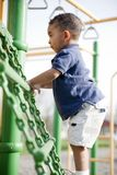 Multi-racial boy at the park. Cute multi-racial boy at the park playing Royalty Free Stock Image