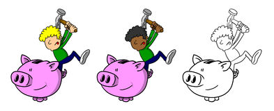 Multi-Racial Boy Smashing Piggy Bank. With a hammer vector illustration