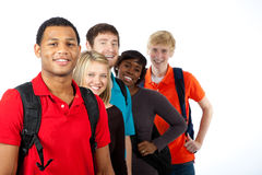 Multi-racial college students on white Royalty Free Stock Photo