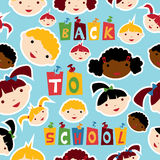 Multi-racial education pattern. Diversity racial back to school children faces seamless pattern. Vector illustration layered for easy manipulation and custom royalty free illustration