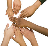 Multi Racial Hands. Photograph of multi racial children's hands on white background stock image