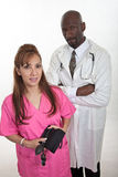 Multi racial healthcare workers team nurse doctor Stock Photo