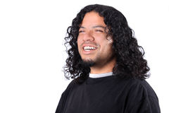 Multi-racial male. With white teeth smile and long curly hair on a white background Royalty Free Stock Photos