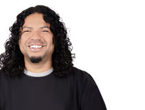 Multi-racial male. With big white teeth smile and long curly hair on a white background Royalty Free Stock Image