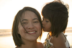 Multi-racial Mother & Daughter. Multi-racial Family Mother & Daughter royalty free stock images