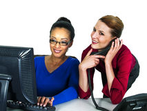 Multi-racial office girls royalty free stock images