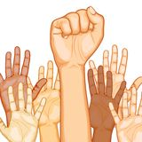 Multi Racial raised Hands. Illustration of raised hand of different race with one fist stock illustration