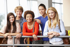 Multi racial student group indoors Stock Photos