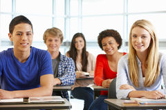Multi racial teenage pupils in class Stock Photography