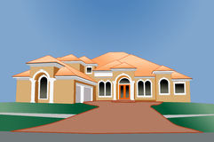 Multi roof line upscale home Stock Photography