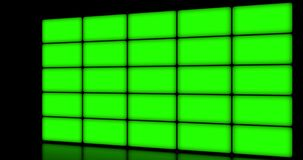 Multi screen display with chroma key green screen, on black background
