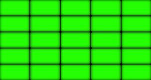 Multi screen display with chroma key green screen, on black