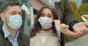Multi-screen with portraits of people in protective masks, collage on the theme of the coronavirus pandemic.
