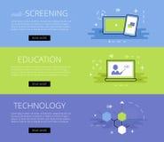 Multi-Screening Education Technology. Vector banners set Stock Photos