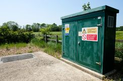 Internet and telecom cabinet installed in a rural location. stock image