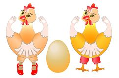 Pair of chickens. Multi-sex chickens are smiling and enjoying a fresh egg. Young chicks rejoice at their birth vector illustration