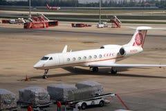 Multi Sitze der Maschine 20 Luftfahrtstarrflügels gvsP g550 Gulfstream/2 Maschinen mit Logoporzellan cefc Energiekonzern begrenzt lizenzfreies stockfoto