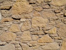 Multi-Sized Tan Stone Wall. Tan colored wall with multi-sized flat layered stones Stock Photos