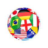 Multi soccer ball. Different country soccer ball 3d image on white Stock Photography