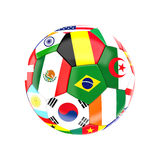Multi soccer ball. Different country soccer ball 3d image on white Royalty Free Stock Images