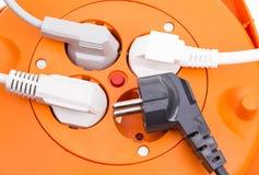 Multi spina e cavi elettrici Fotografie Stock
