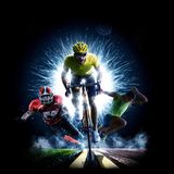 Multi sport collage road bicycle rinning american football stock image