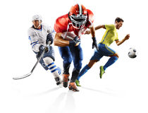 Multi sport collage soccer american football ice hockey. Multi sport collage professional soccer american football ice hokey players in action isolated on white Royalty Free Stock Image