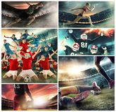 Multi sports collage about basketball, American football players and fit running woman royalty free stock image