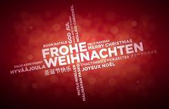 Multi Sprachweihnachtsgruß-Design Stockfotografie
