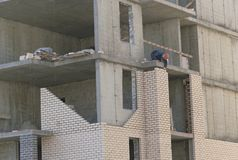 Multi-storey building. Construction of multi-storey residential building stock photography