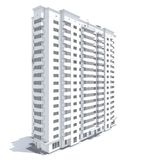 Multi-storey building. 3d rendering of modern multi-storey residential building isolated on white royalty free illustration