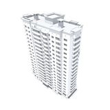 Multi-storey building. 3d rendering of modern multi-storey residential building isolated on white Stock Photo