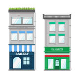 Multi-storey building with roof terrace and shop Royalty Free Stock Images