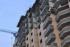 Multi-storey building under construction. Construction of multi-storey residential building. Angle view Royalty Free Stock Photo