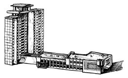 Multi-storey building. Vector illustration of a multi-storey building stylized as engraving royalty free illustration