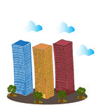 Multi storey buildings and trees. Multi storey buildings, trees and clouds. Square  illustration Royalty Free Stock Images