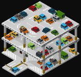 Multi storey car park. Vector isometric illustration of a multi storey car park and parked vehicles describing the internal structure of a multi-level parking Royalty Free Stock Images