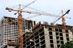Multi-storey construction. C the help of cranes Stock Photography
