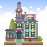 Multi-storey country house vector illustration