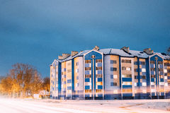 Multi-storey House In Residential Area At Winter Evening Or Nigh. T Stock Photography