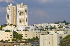 Multi-storey houses. Beautiful multi-storey apartment houses in the city of Modein, Israel Stock Photos
