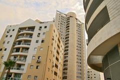 Multi-storey houses. Beautiful new area of multi-storey houses on seacoast in Israel Stock Images