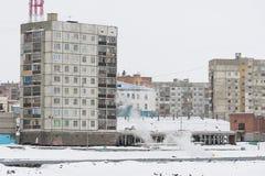 Multi-storey residential building in Norilsk. Royalty Free Stock Photo